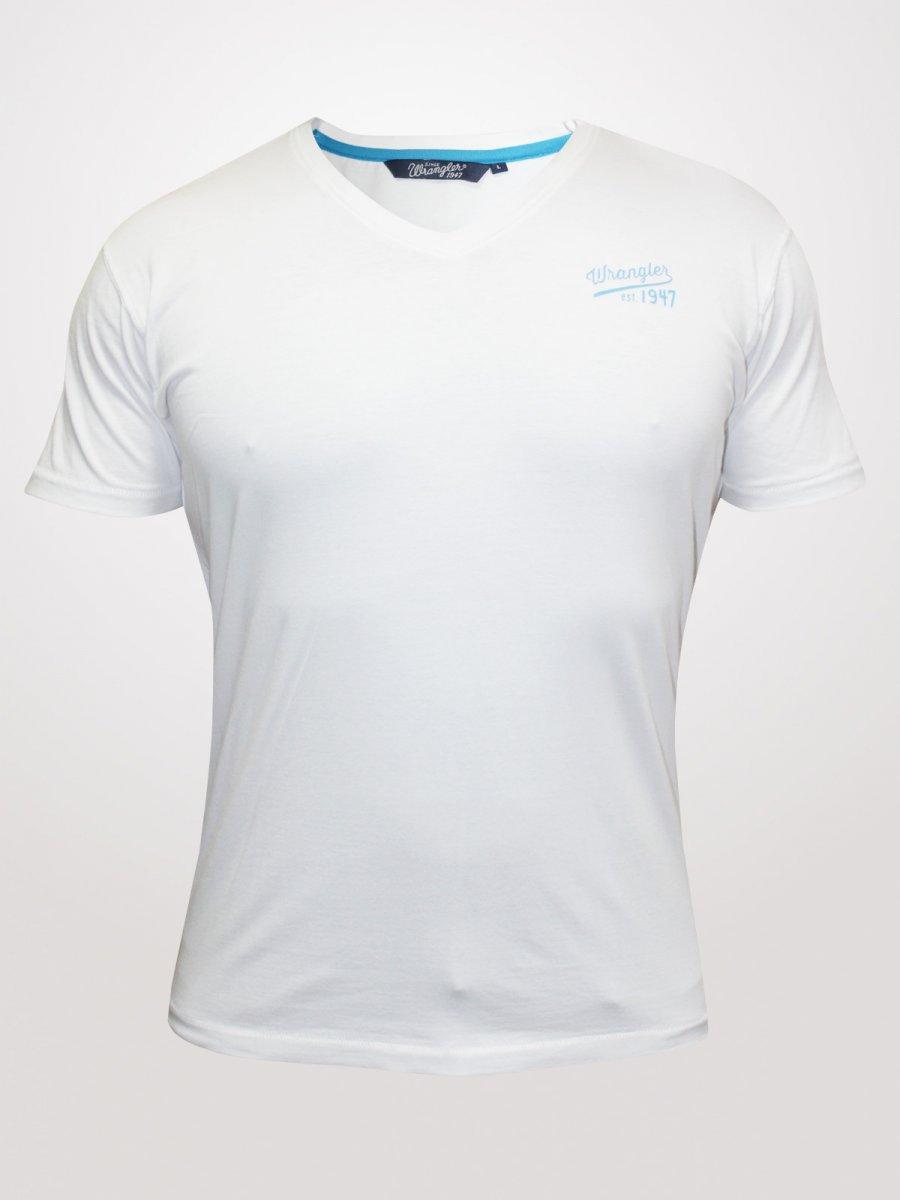 Wrangler white v neck t shirt wrts4507 for White t shirt v neck