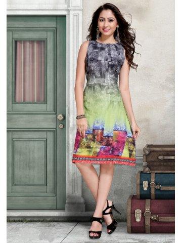Victorian Clothing Green & Black Digital Print Kurti at cilory
