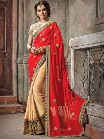 https://static4.cilory.com/153086-thickbox_default/maisha-beige-red-heavy-saree-with-stone-work-on-blouse.jpg
