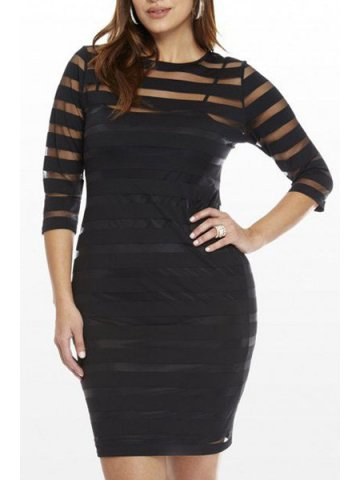 https://static.cilory.com/159834-thickbox_default/round-collar-three-quarters-sleeve-see-through-plus-size-dress.jpg