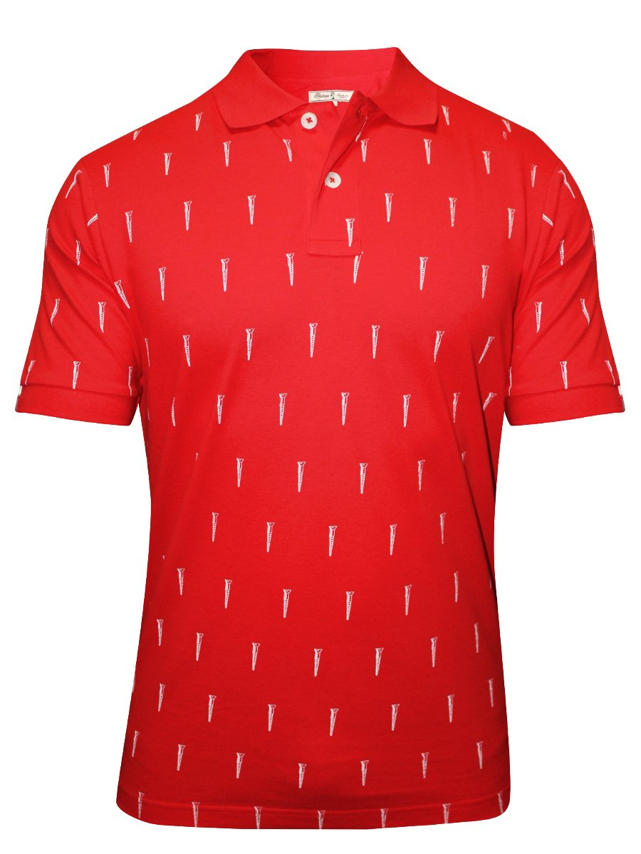 Red tape red printed polo t shirt rph6308 red white for Polo t shirt printing