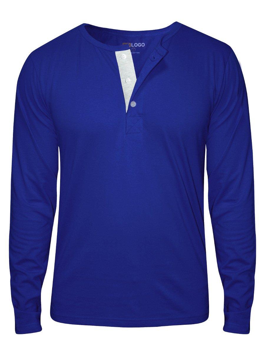 Nologo Royal Blue Full Sleeves Henley T-shirt | Nologo-hnf-008 ...