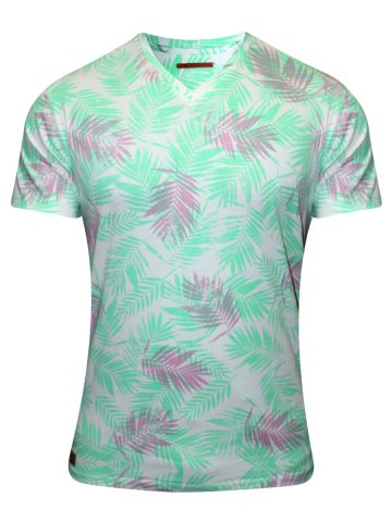 Peter England Green Printed V Neck T-Shirt at cilory