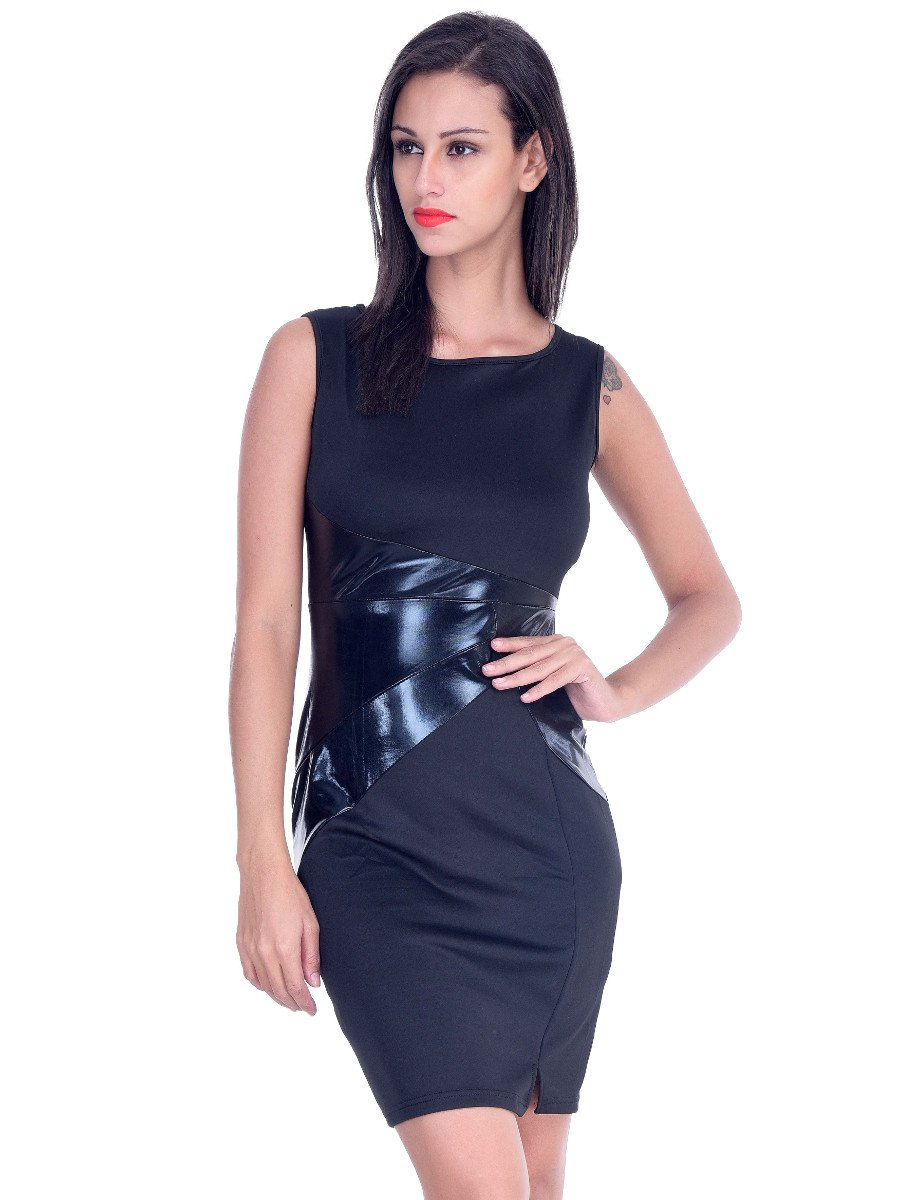 df0cd875c05 Black Midi Dress With Leatherite Detail