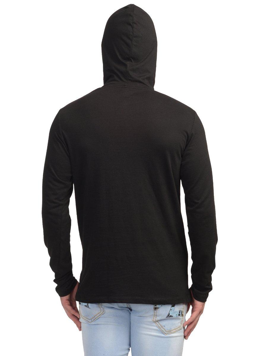 Black t shirt hoodie - View Full Size