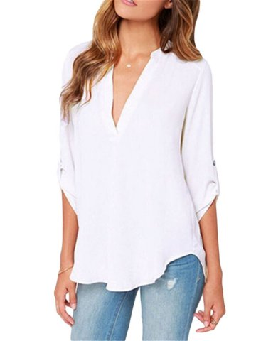V Neck Loose White T-shirt; V Neck Loose White T-shirt. SKU:RTSH ({{gtacashbank.gat_num}}) Color: Select size Size Chart Please Select Size! XS S M L XL XXL. Shoulder (inch) inch Bust (inch) inch Sleeve Length.