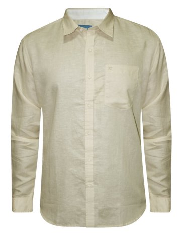 Numero Uno Pure Cotton Cream Cotton Linen Shirt at cilory