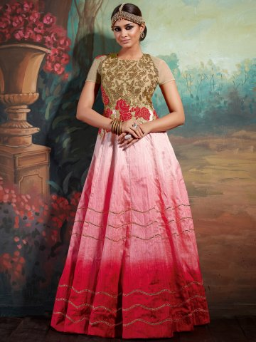 Monarch Pink & Beige Semi Stitched Gown Style Suit   Vishal-3584 ...