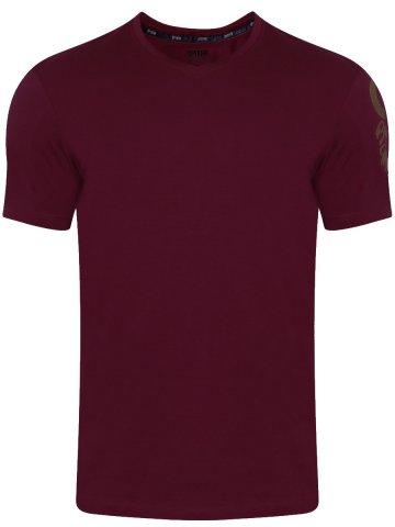 Spykar Plum V Neck T Shirt at cilory