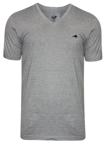 2go Grey Mellange V Neck T-Shirt at cilory