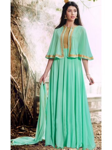 Engrave Light Green Semi Stitched Gown Style Suit   Nairra-1023a ...