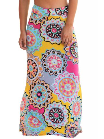 Multicolor Bohemian Print Maxi Skirt at cilory