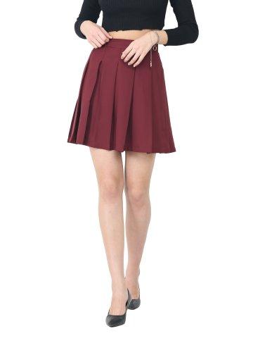 Trend Arrest Burgundy Knife Pleat Skirt at cilory
