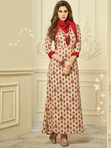 13097691a92 ... Red Rayon Cotton Printed Kurti with Stole.  https   static7.cilory.com 314602-thickbox default palchu-