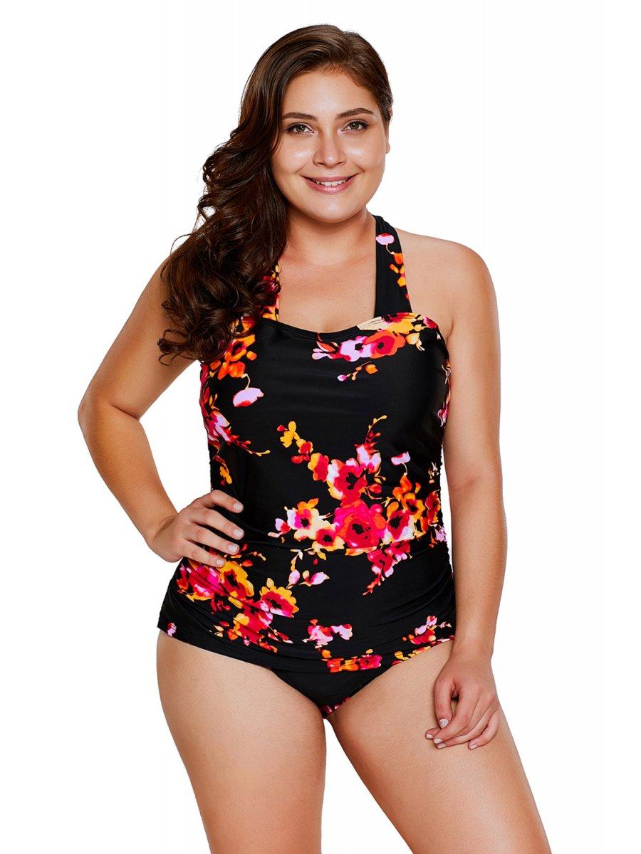 820057e88f0a Plus Size | Black Floral Print Halter One-piece Bathing Suit ...