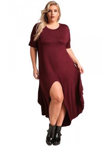 7f8afbef0f5  Burgundy Plus Size Hi-Lo Slit Jersey Knit Maxi Dress.  https   static7.cilory.com 316909-thickbox default burgundy-