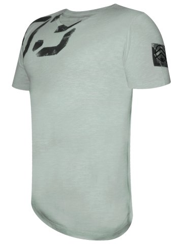 Spykar Cement Grey Solid V-Neck T-Shirt at cilory