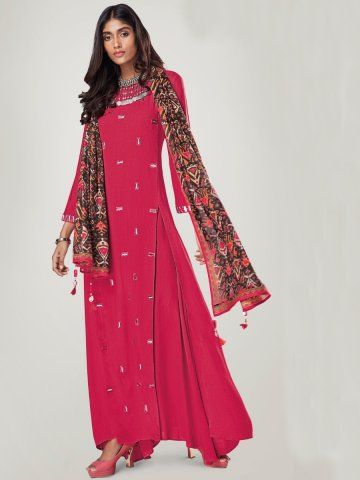 https://static3.cilory.com/322112-thickbox_default/reflection-pink-rayon-slub-double-layered-kurti-with-stole.jpg